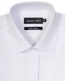 White Ribbed Piqué Dress Shirt