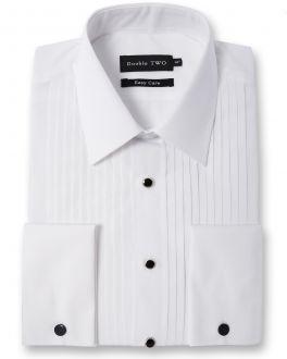 White Stitch Pleat Dress Shirt