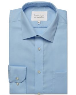 Slim Fit Blue Pure Cotton Non Iron Shirt
