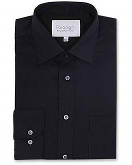 Black Premium Single Cuff Pure Cotton Non Iron Shirt