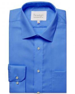 Cobalt Blue Single Cuff Pure Cotton Non Iron Shirt