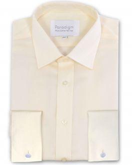 Cream Double Cuff Luxury Pure Cotton Non Iron Shirt