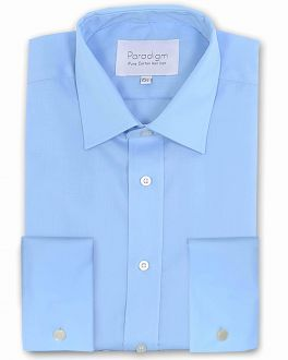Blue Double Cuff Luxury Pure Cotton Non Iron Shirt