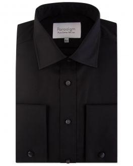 Men's Black Double Cuff 100% Cotton Shirt