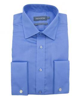 Mid Blue Double Cuff Pure Cotton Non Iron Shirt