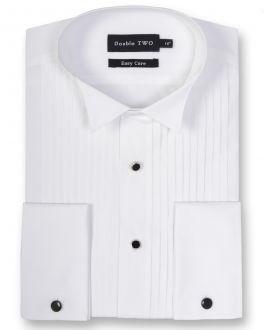 White Wing Collar Stitch Pleat Dress shirt