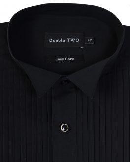 Black Wing Collar Stitch Pleat Dress Shirt