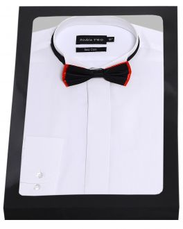 White Wing Collar Dress Shirt and Bow Tie Set Box