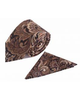 Brown Paisley Cotton Tie and Handkerchief Set