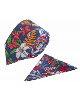 Red Floral Cotton Tie and Handkerchief Set