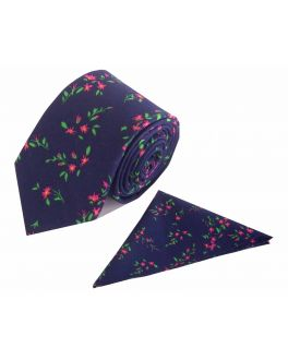 Pink Flower Patterned Cotton Tie and Handkerchief Set