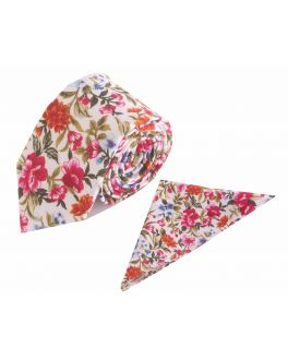 Red Flower Patterned Cotton Tie and Handkerchief Set