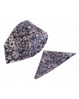 Navy Flower Patterned Cotton Tie and Handkerchief Set