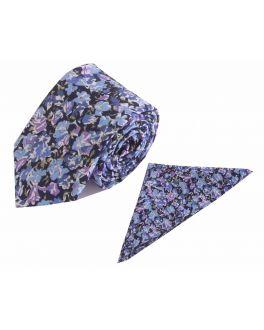 Sky Blue Floral Cotton Tie and Handkerchief Set