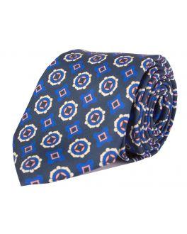Navy Printed Geometric Patterned Tie
