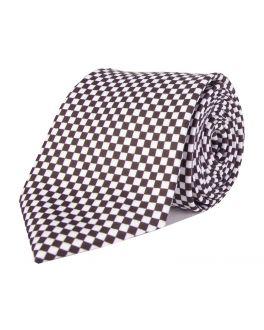 Black Printed Check Patterned Tie