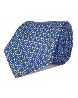 Blue and Yellow Printed Horseshoe Patterned Tie