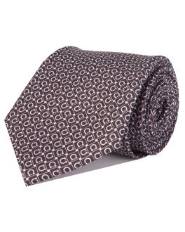 Black and White Printed Horseshoe Patterned Tie