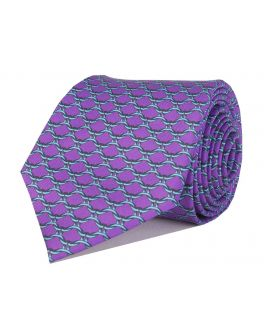 Lilac Printed Link Patterned Tie
