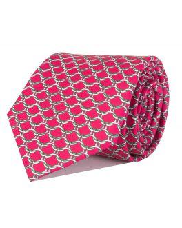 Red Printed Link Patterned Tie