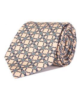 Beige Printed Multi-Link Patterned Tie
