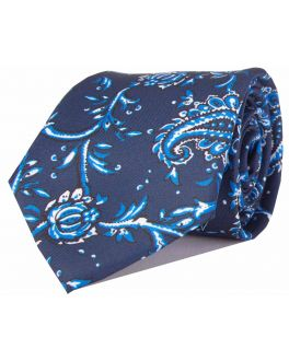 Navy & Light Blue Printed Paisley Patterned Tie