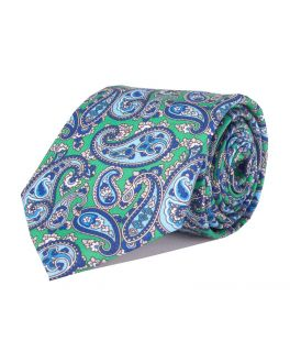 Green & Light Blue Printed Paisley Patterned Tie