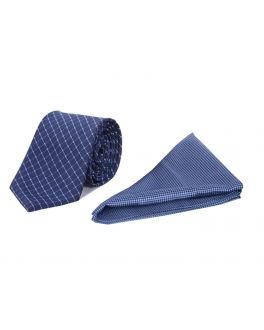 Blue Check Polyester Tie and Handkerchief Set