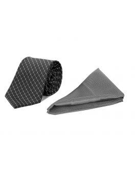 Grey Check Polyester Tie and Handkerchief Set