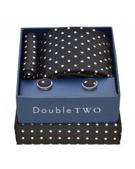 Black Polka Dot Tie, Cufflinks and Handkerchief Set