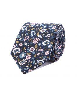 Pink Floral Cotton Print Silk Tie