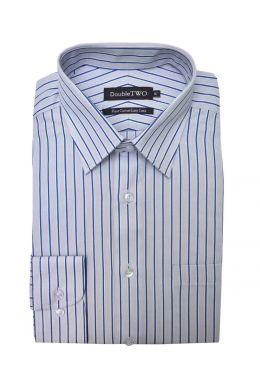 Blue Bar Striped Grey Formal Shirt