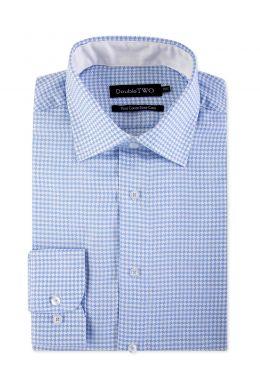 Blue Dogtooth Formal Shirt