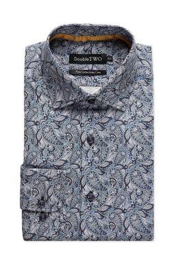 Grey and Navy Paisley Print Formal Shirt