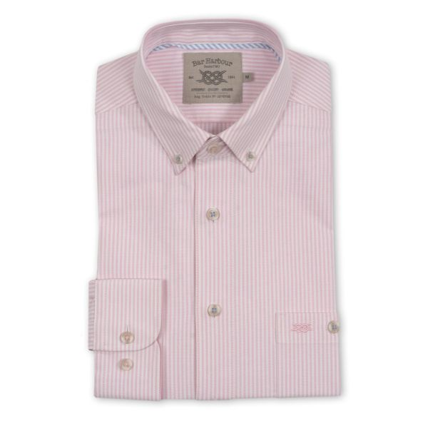 Pale Pink Stripe Long Sleeve Casual Shirt