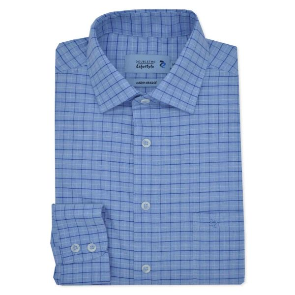 Soft Blue Twill Check Long Sleeve Casual Shirt