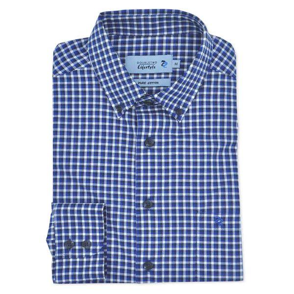 Royal Blue Oxford Weave Check Long Sleeve Casual Oxford Shirt