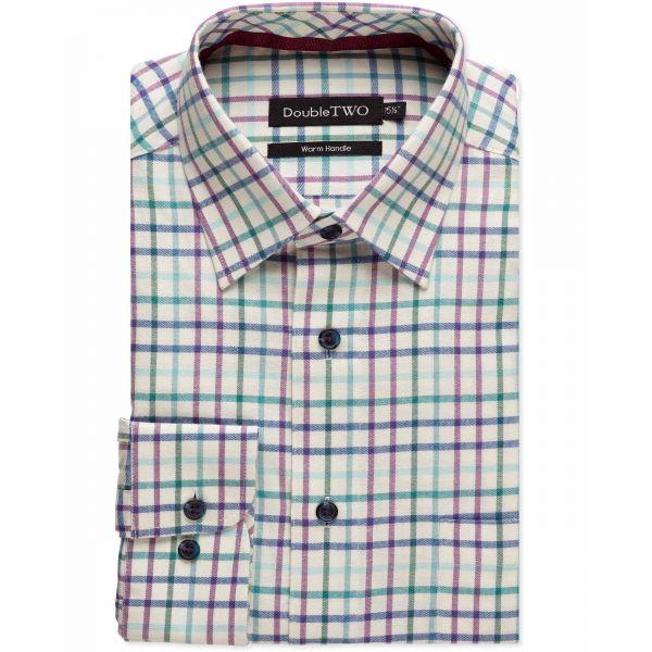 Wine and Green Tattersall Check Warm Handle Shirt