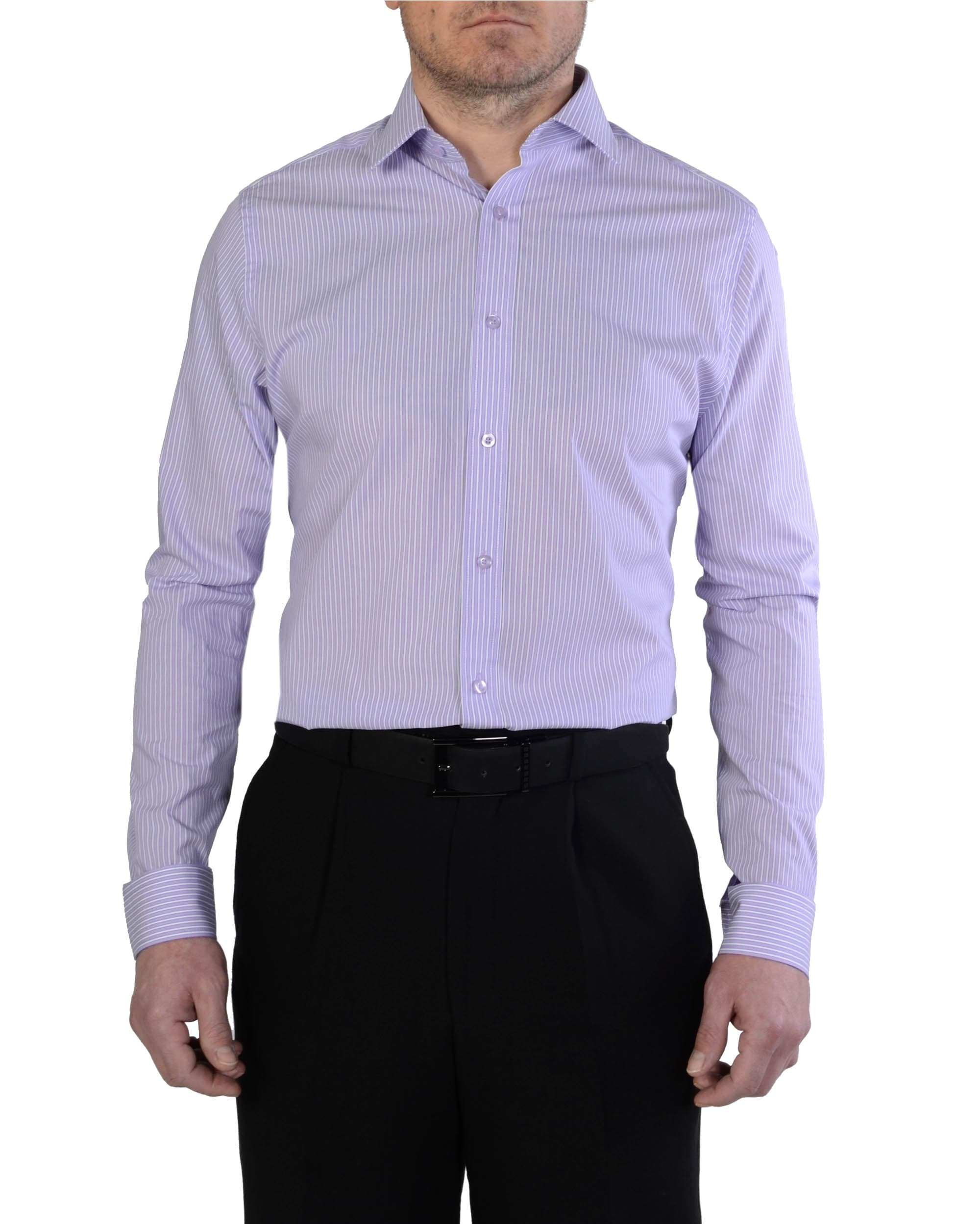 Double Two Slim Fit Lilac Stripe Formal Shirt Slim Fit