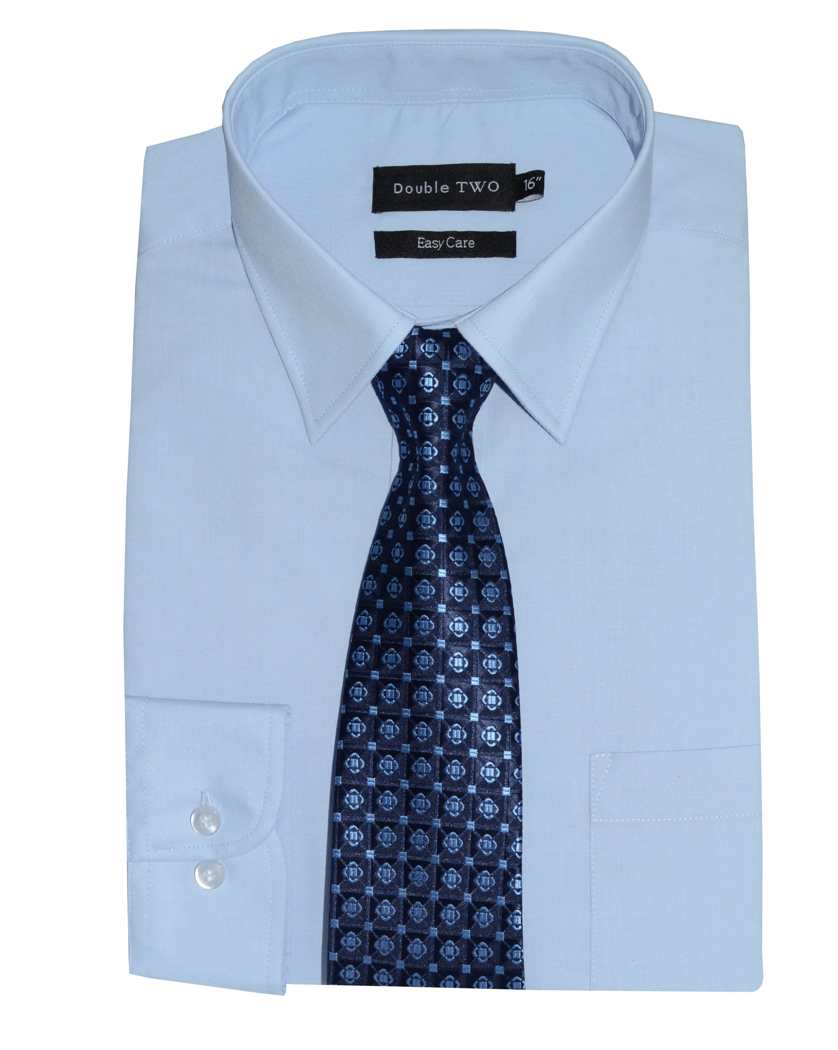 Double Two Blue Formal Shirt And Tie Set