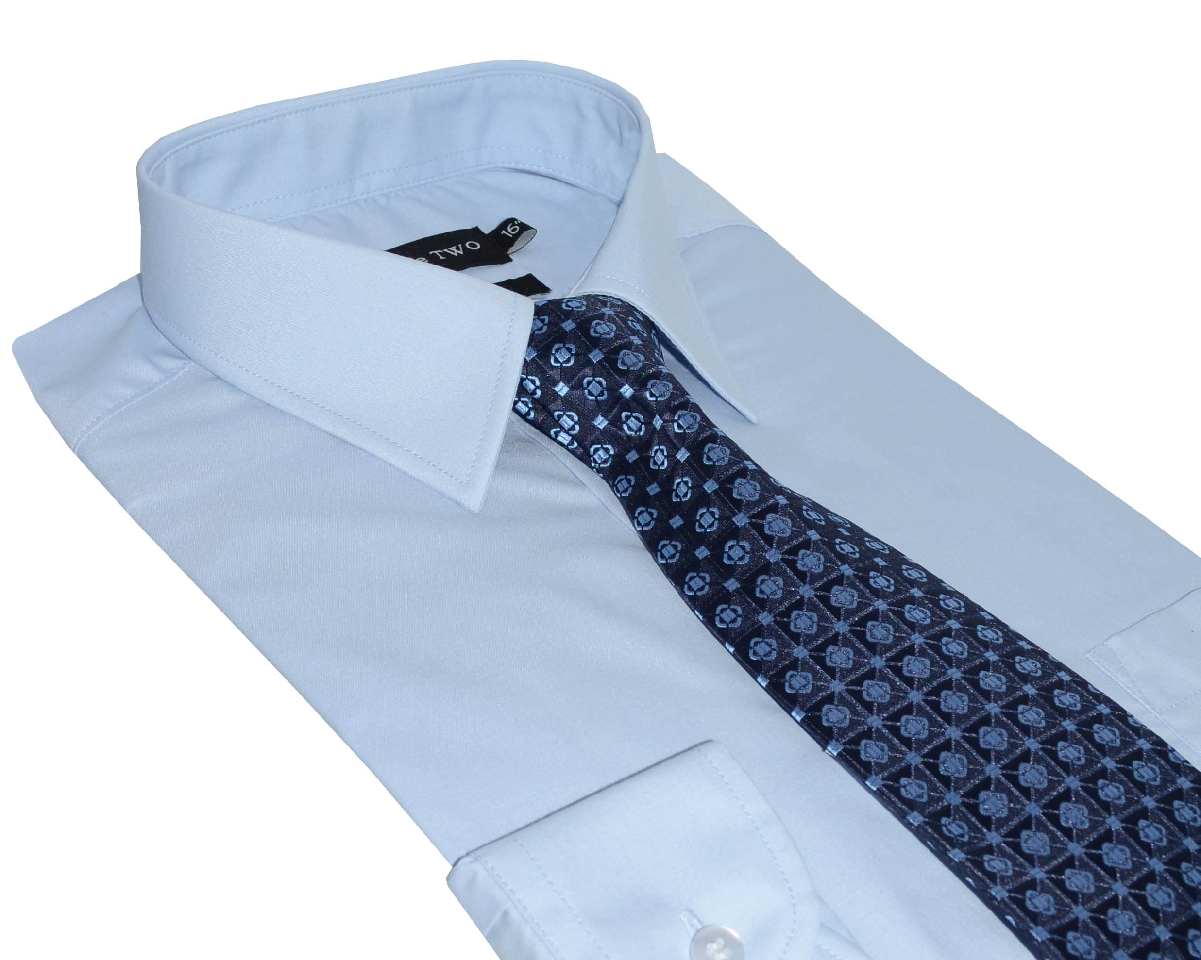 Double Two Blue Formal Shirt And Tie Set Shirt And Tie