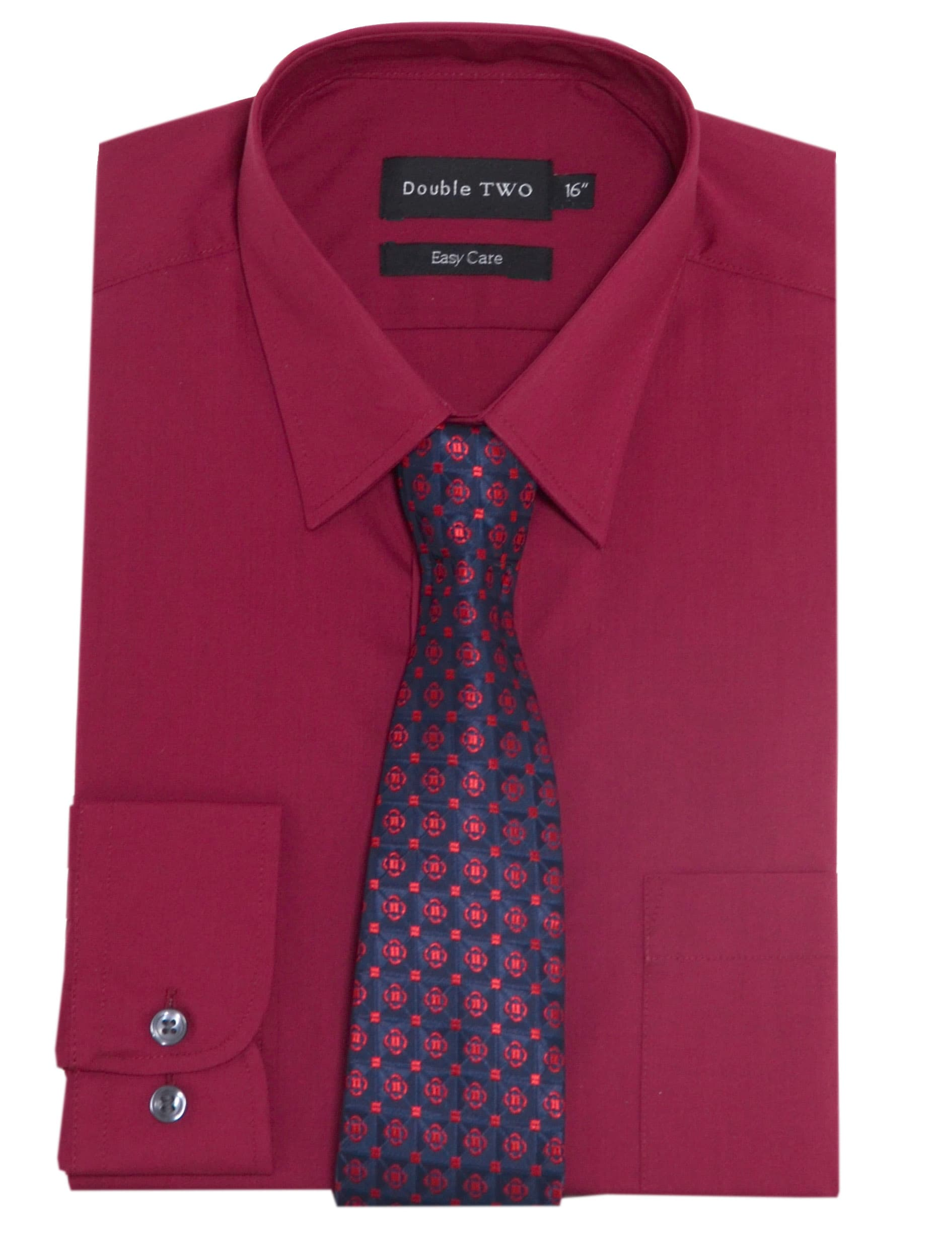 double two plain burgundy formal shirt and tie set