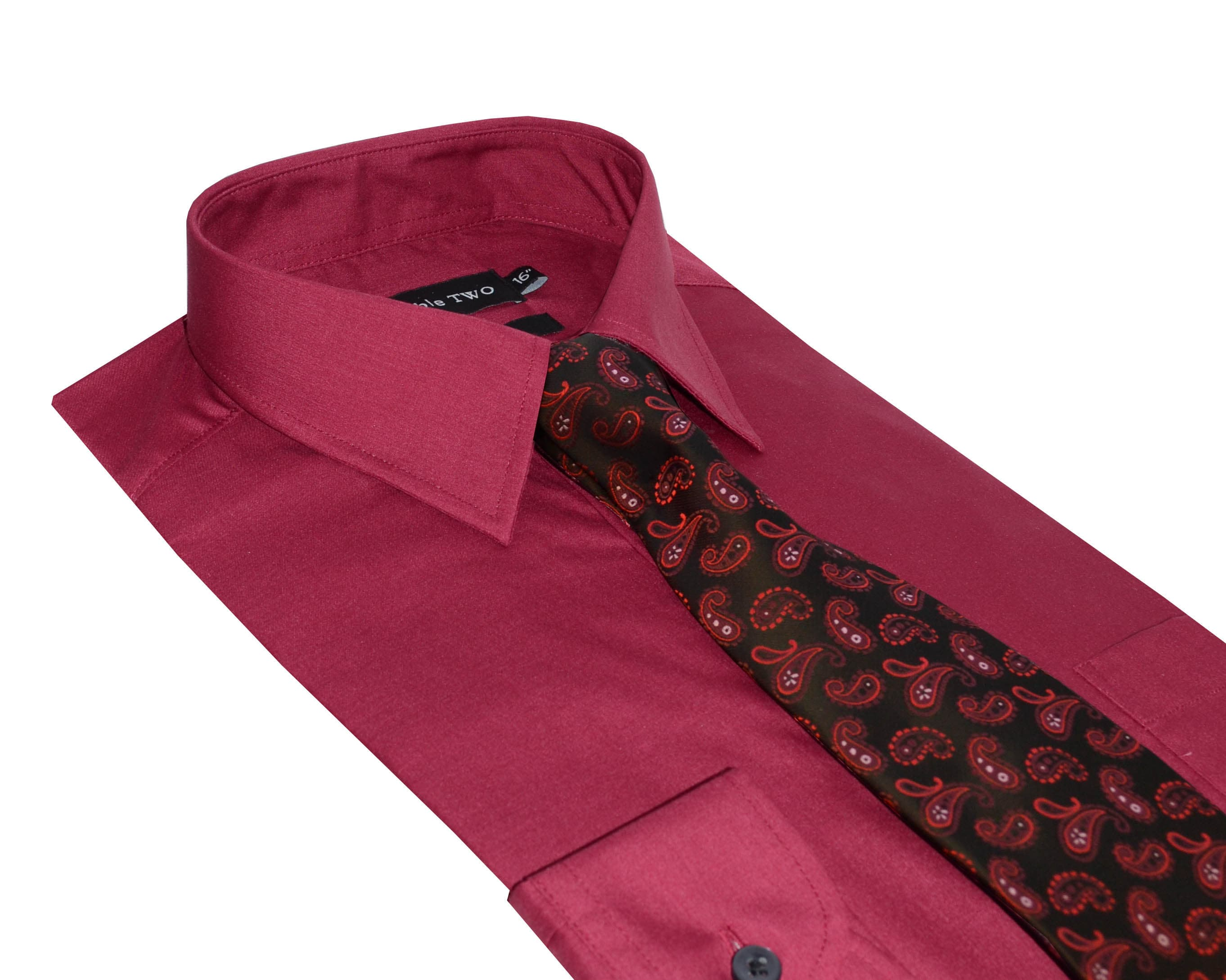 Double TWO | Plain Burgundy Formal Shirt and Tie Set - photo#49