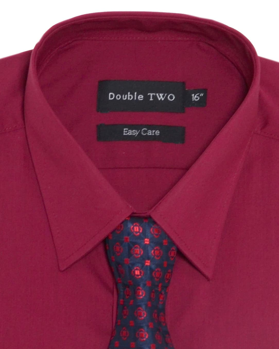 Double TWO | Plain Burgundy Formal Shirt and Tie Set ... - photo#28