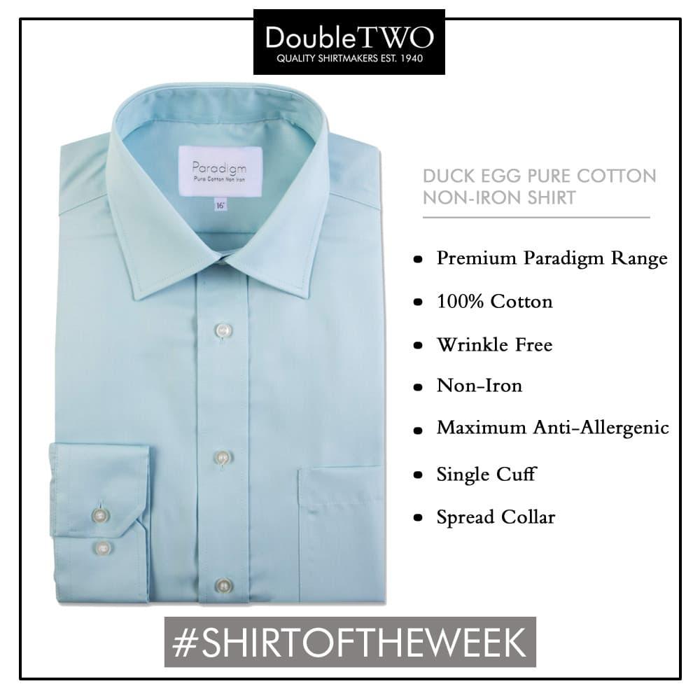 Shirt of the Week: Men's Duck Egg Blue 100% Cotton Shirt
