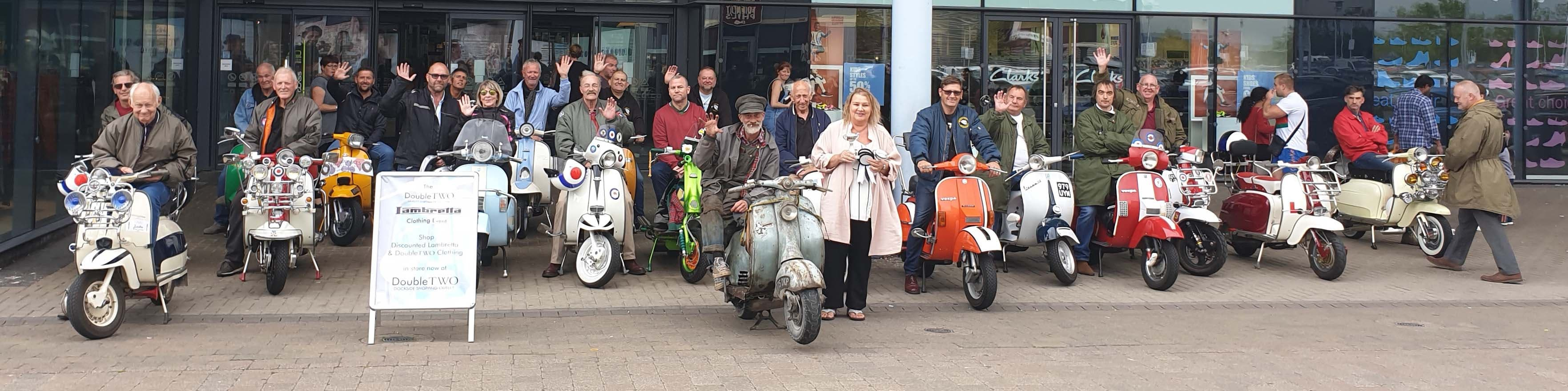 Scooter Clubs ride in to help promote our Lambretta Clothing Range