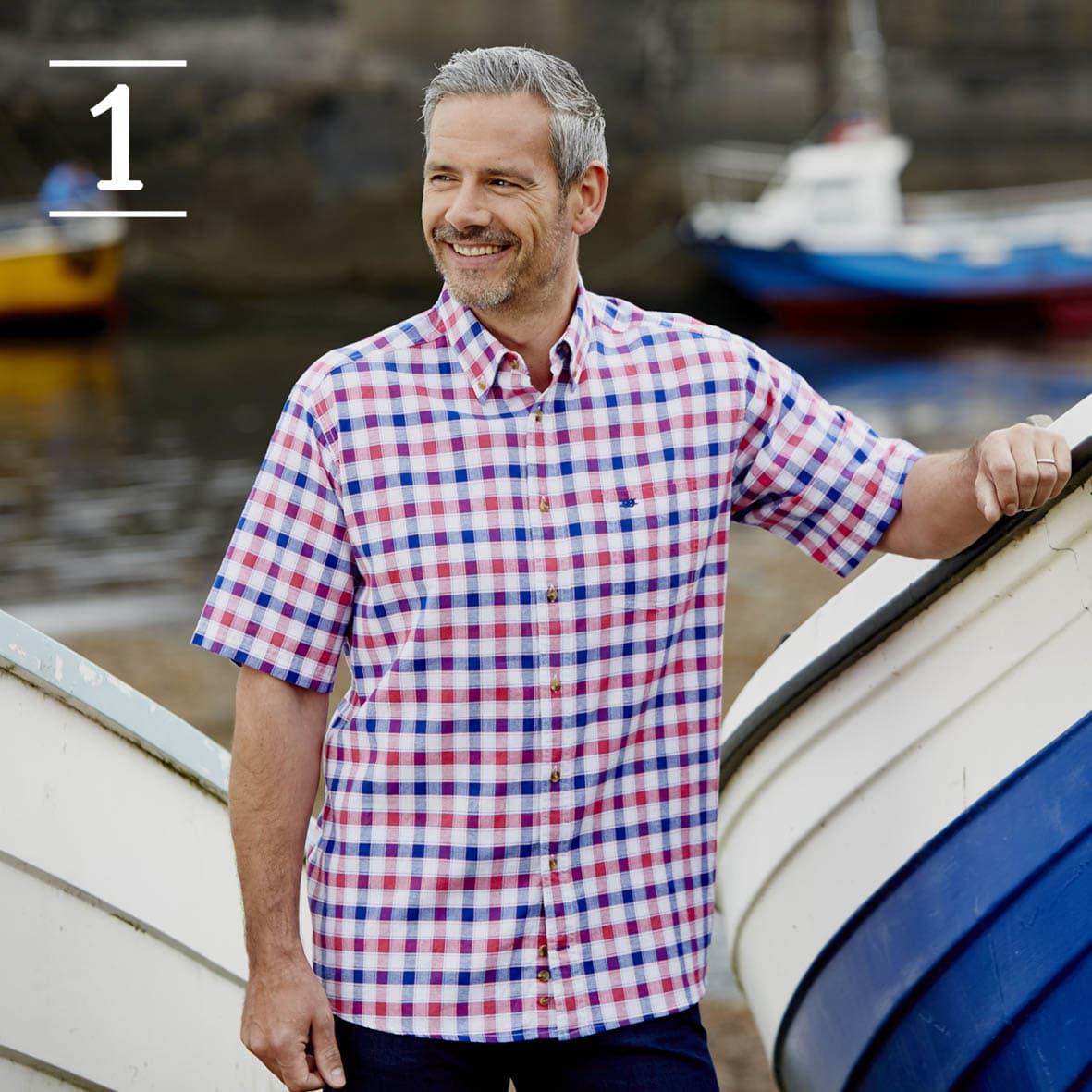 Pink Check Short Sleeve Casual Shirt