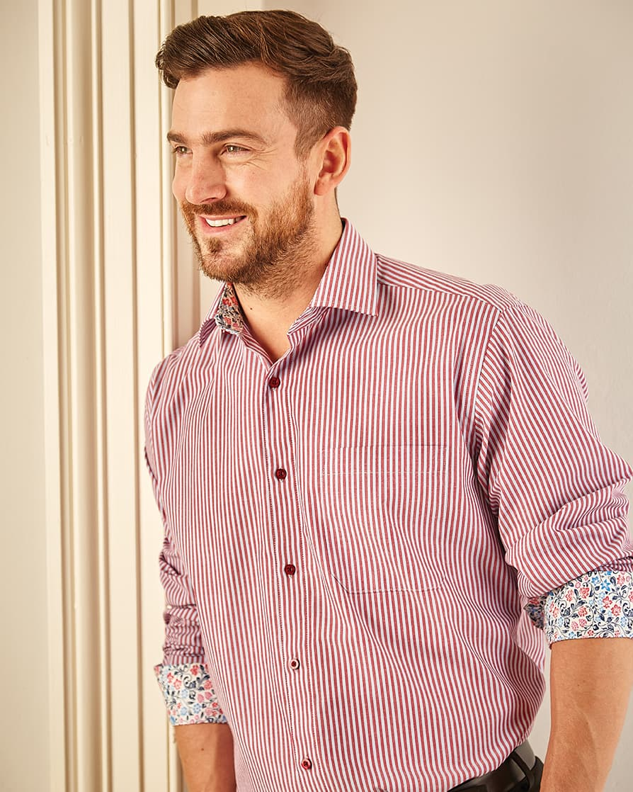 Shop Double TWO Men's Red Stripe Formal Shirt with Floral contrast collar and cuffs