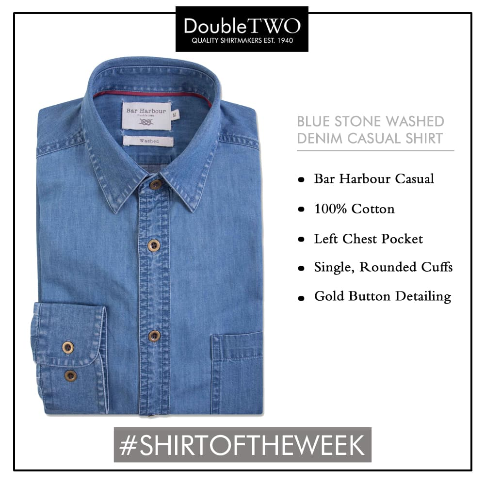 Shop Men's Denim Blue Shirt by Double TWO