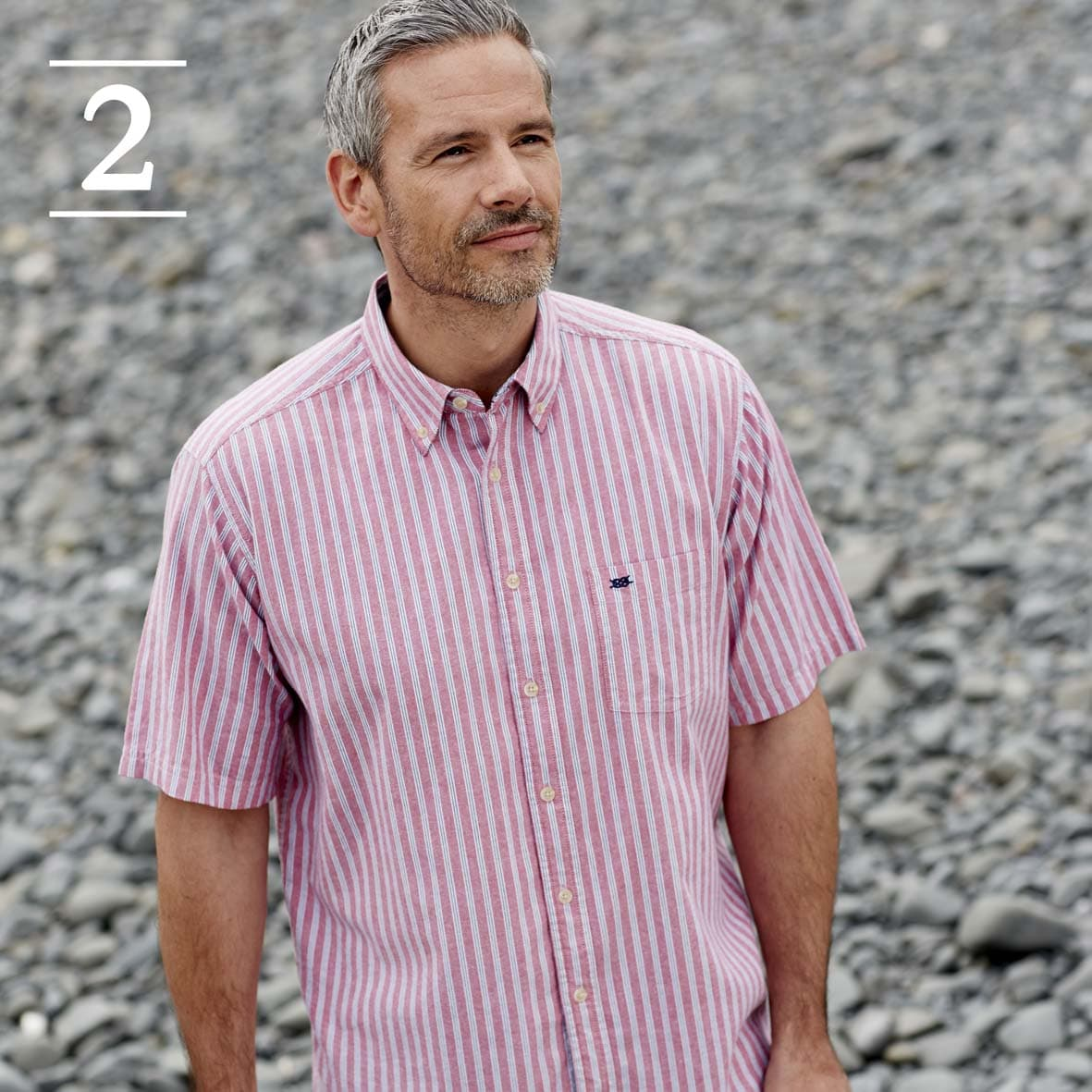 Red Stripe Short Sleeved Casual Shirt
